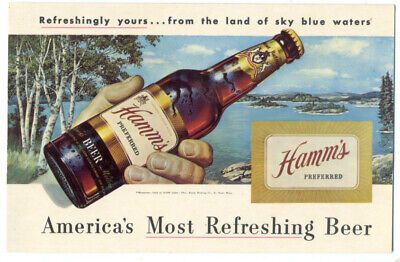 HAMM'S BEER - Great 1950's Poster-Style Ad Postcard w/ BIG BOTTLE Image. RARE