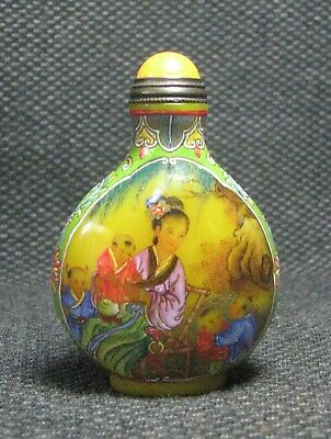 Chinese Glass Delicate Hand Painted Beauty And Children Snuff Bottle////===
