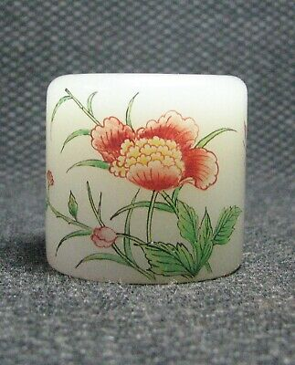 Chinese Glass Delicate Hand Painted Flowers And Butterflies Ring///===