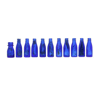 Vintage Set of 11 Cobalt Blue Glass Bottles - Vicks Drops Small As Is