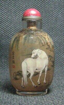 Chinese Glass Delicate Inside-drawing White Horse Snuff Bottle******