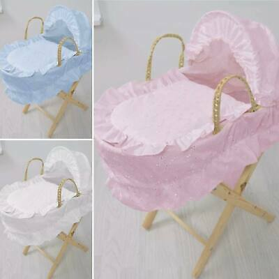 Beautiful Girl Doll Brodie Anglaise Toy Dolls Moses Basket+Stand Pink Blue White