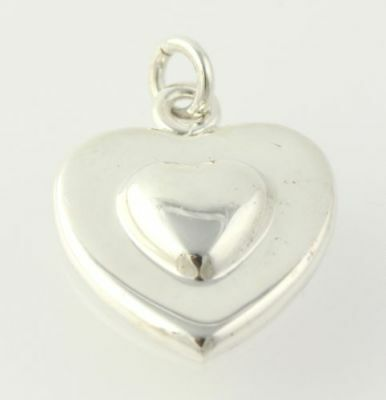 Cute Heart Charm - Sterling Silver 925 Women's Estate Love Polished Pendant