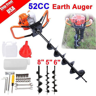 52cc 2.5HP Auger Post Hole Digger Gas Powered Auger Fence Ground Drill w/3 Bits