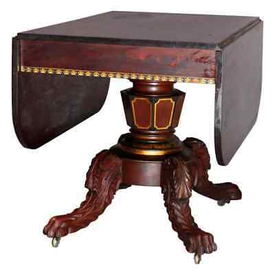 American Empire Classical Flame Mahogany and Gilt Table, Manner of Meeks