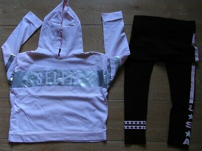 girls pink hoody age 11-12  form new look plus black leggings from matalan 12