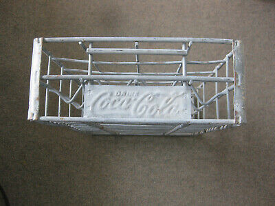 Vintage COCA-COLA Metal COKE BOTTLES Carrier CRATE holds 24