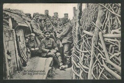In the trenches before the shelter: German World War I postcard 1910s