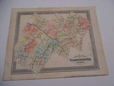 original rare 1876 Map from Vt Centennial Atlas - 14x17 - WASHINGTON CO. VERMONT