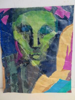 really old painting art work COLLAGE portrait