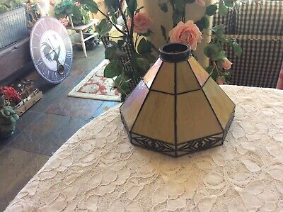 Arts Crafts Vintage Stained Iridescent Slag Glass Lamp Shade