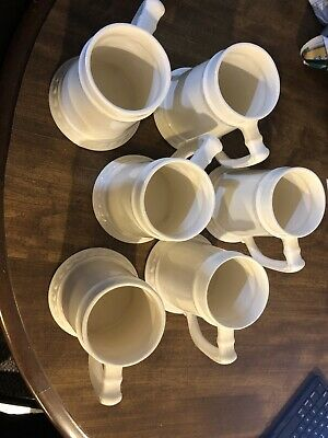 Lot Set Of White Steins Ceramic Six Nice