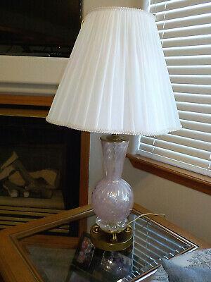 Vintage Pink W/Silver Flakes Murano Table Lamp Barovier #1