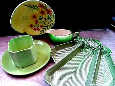 Vtg. Carlton Ware Curled Cabbage Serving Plate Gravy Dish Plate Pottery Kitchen
