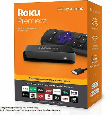 Roku Premiere HD/4K/HDR Streaming Media Player, Simple Remote Premium HDMI Cable