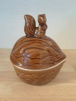 Vintage Ceramic Lidded Nut Dish Shaped Walnut with Squirrel on Top