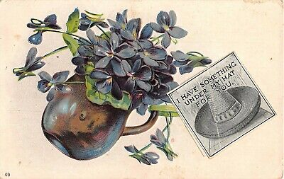 Jug Filled With Lovely Violets on 1908 Postcard-Sombrero Picture Attached & Note