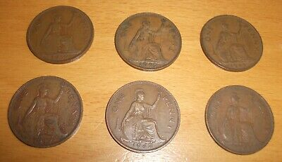 Coins - 6 x George VI English pennies various dates