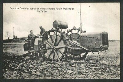 German Soldiers driving motor plough in France German World War I postcard 1910s