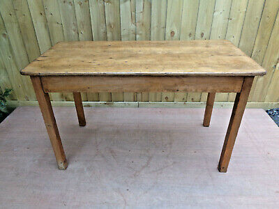 Victorian Pine Table on Square Legs. Ideal for Kitchen.