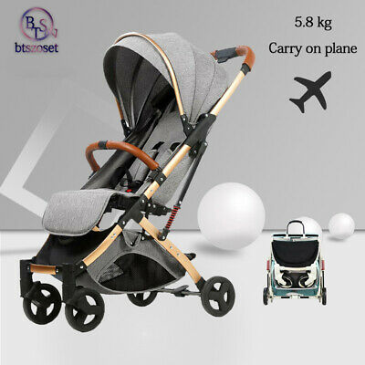 Grey plane AU Seat Carrycot Travel Single Carriage Baby Infant Stroller Foldable