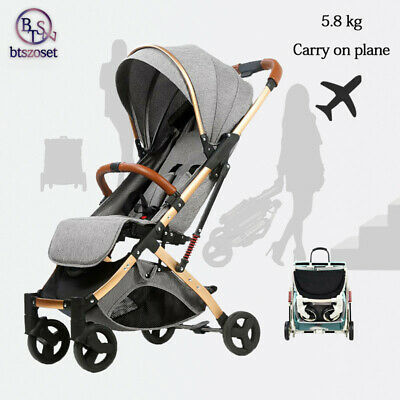 Grey Baby Stroller Foldable Carry on plane Seat Carrycot Travel Single baby Pram