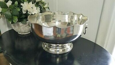 Antique Vintage Silverplate Footed Punch Bowl Lion Handles