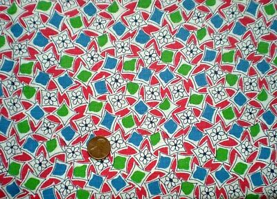 GEOMETRIC Full Vtg FEEDSACK Quilt Sewing DollClothes Craft Fabric Red Blue Green