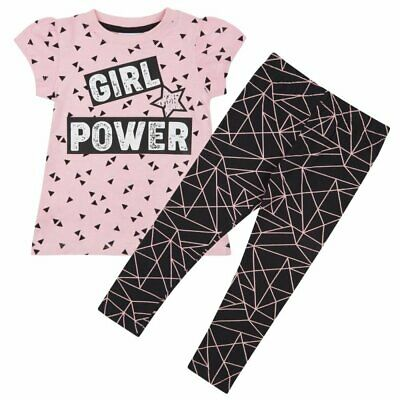 GIRL POWER Top & Legging Set Ages 2,3,4,5,6,7,8 Years NEW