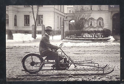 Real Photo Man Riding Vintage Motorcycle On Skis Winter Snow Postcard Copy