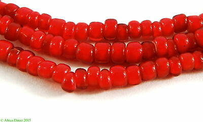 3 Strands Venetian Trade Beads Red Whitehearts Old Africa