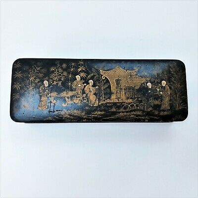 Chinese black lacquer and wood rectangle box with gold painted lid