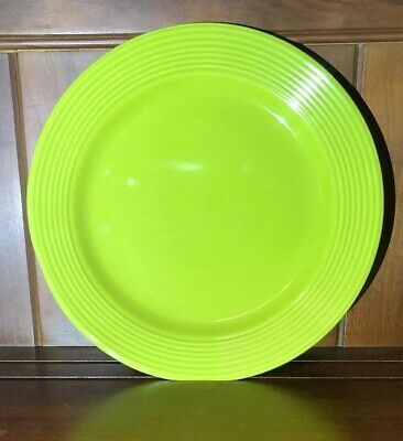 """2 Royal Norfolk Dinner Plates 10.75"""" Green Chartreuse Lime Stoneware Rings"""