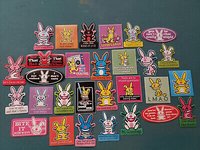 Jim Benton 29 Different Funny Happy Bunny Stickers *MIX MATCH YOURS* Sick Humor