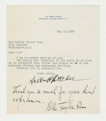 1936 NELLIE TAYLOR ROSS AUTOGRAPHED SIGNED LETTER 1st WOMAN GOVERNOR POLITICAL