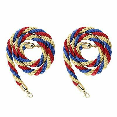 """NovelBee 2pcs of 5"""" Stanchion Hemp Braided Rope with Gold Plated Hooks Barrier"""