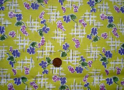 FLORAL Full Vtg FEEDSACK Quilt Sewing Doll Clothes Craft Fabric Purple Pink Lime