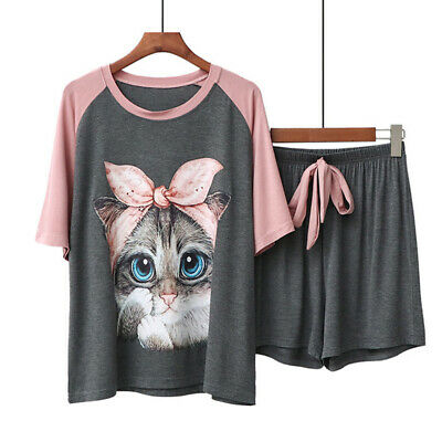 Women Sleepwear Cotton Pajamas Set Cute Cartoon Homewear Soft Modal Nightwear Pj