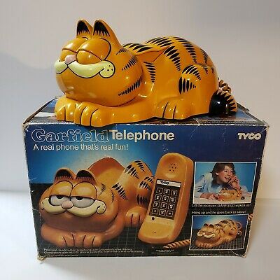 Vintage 1980's Tyco Garfield Desk Telephone Eyes Open & Close Working With Box