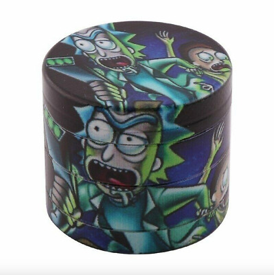 Rick and Morty Herb Tobacco Pipe Grinder Crusher 4 Layer Metal 40mm Storage