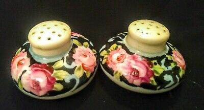 Antique Hand Painted Porcelain Salt And Pepper Shakers