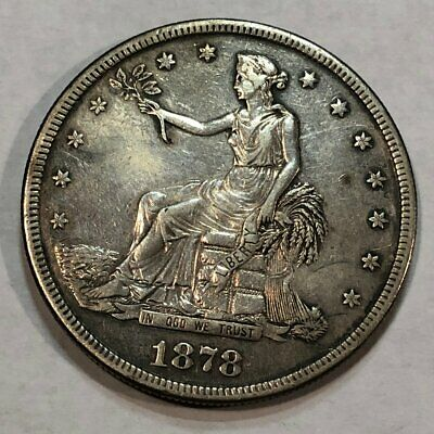 1878-S silver US TRADE DOLLAR. AU, lightly cleaned. (lot#q2)