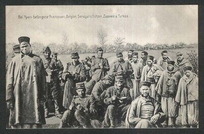 French Belgians Senegalese Zouaves Turks: German World War I postcard 1910s