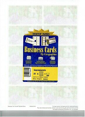 Printable Business Cards ~ Geographics Desktop Papers ~ 250 Cards ~ New Sealed