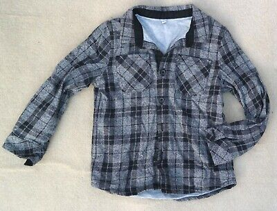 MARKS & SPENCER Boys Checked Long Sleeve Black Grey Thick Shirt 3-4 Years Cotton