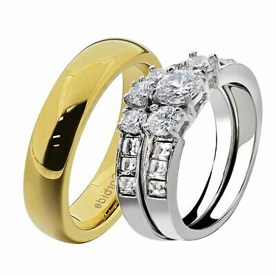 His & Hers Wedding Ring Set White Stainless Steel Round CZ Tungsten Men Band GC