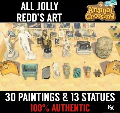 Animal Crossing New Horizons ALL JOLLY REDD'S PAINTINGS & STATUES 100% AUTHENTIC