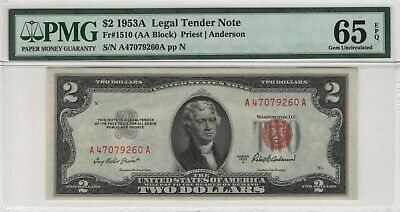 1953 A $2 Legal Tender Red Seal Fr.1510 Pmg Certified Gem Uncirculated 65 Epq