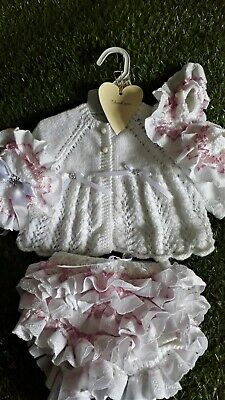 Reborn baby doll hand knitted 0 to 3 months  frilled baby girl outfit