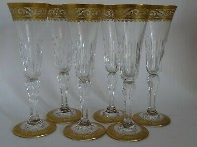 SIX CHAMPAGNE GLASSES CRYSTAL ST LOUIS FRANCE PATTERN STELLA GOLD signed